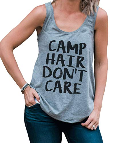 7 ate 9 Apparel Ladies Camp Hair Don't Care Outdoors Tank Top Large Grey ()