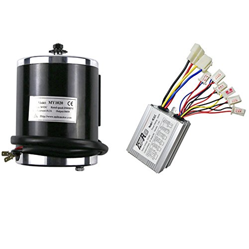JCMOTO 36v 500w Brushed Speed Motor and Controller Set for Electric Scooter Go Kart Bicycle e Bike Tricycle Moped