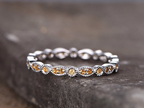 Full eternity band Citrine Wedding ring Sterling silver ring for women Art Deco Style Dainty stackable ring Matching band White gold plated