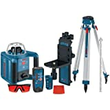 Bosch Self-Leveling Rotary Laser with Layout Beam Kit with Receiver, Remote, Tri-pod and Wall Mount GRL300HVCK