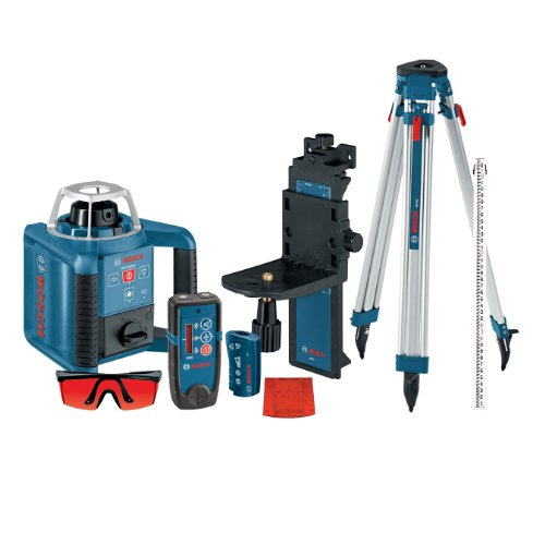 Bosch Self-Leveling Rotary Laser with Layout Beam Kit with Receiver, Remote, Tri-pod and Wall Mount GRL300HVCK ()
