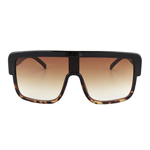 ROYAL GIRL Premium Oversized Sunglasses Women Flat Top Square Frame Shield Fashion Glasses(Brown Gradient, 77)