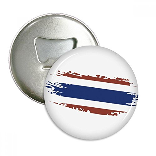 Thai Bangkok Thailand Flag Art Illustration Round Bottle Opener Refrigerator Magnet Pins Badge Button Gift 3pcs by DIYthinker