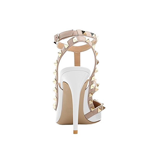 Middle Heels in Sandals Love Heels Womens Sexy June Strappy Rivets White Studs Sandals Thin HFwStqn8R