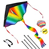 Joy-Fun Toys for 5-8 Year Old Boys Girls Huge Kite for Kids and Adults Outdoor Games Summer Toys Colorful Kites for Children 4-6 Year Old Gifts Beach Kites with String & Bonus Toy Parachute JF-FZ