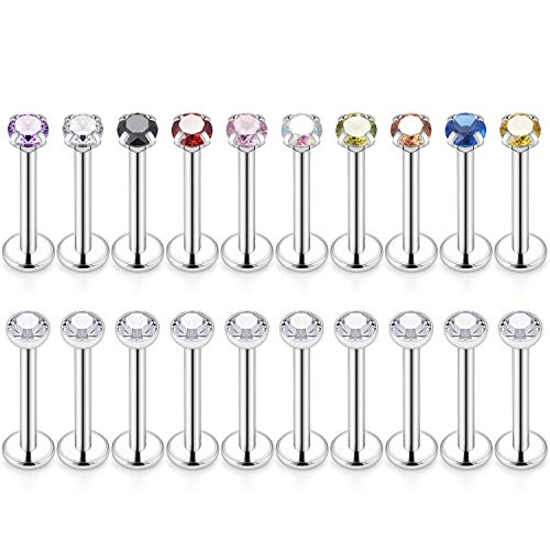 - Cisyozi 20PCS 16g Stainless Steel 2mm CZ Internally Threaded Tragus Earrings for Women Girls Cartilage Helix Lip Labret Monroe Daith Piercing Body Jewelry Bar Length 6mm