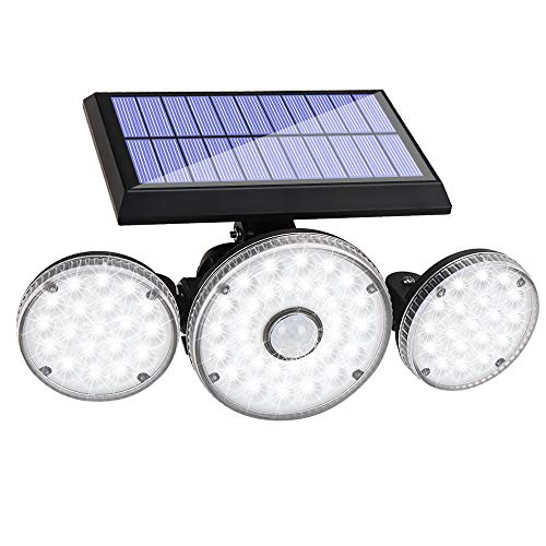 Solar Lights Outdoor,3 Modes with Motion Sensor Lights, 70 LED 3 Adjustable Heads Flood Lights, 270° Rotatable Wireless Spotlights, IP65 Waterproof for Garage Pathway Porch Garden Patio Yard