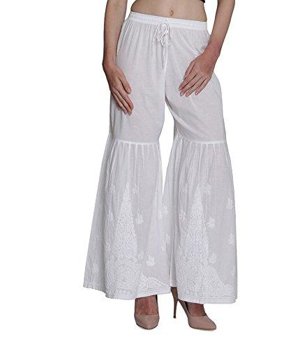 dc546015c0 Indiankala4U Ladies Pants Women Palazzo Trousers Leggings Salwar Indian  Chikankari Hand Embroiderd, White Cotton: Amazon.co.uk: Clothing