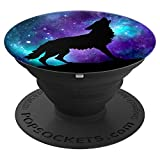 Galaxy Star Wolf Surreal Wild Lone Wolves Double-Exposure - PopSockets Grip and Stand for Phones and Tablets