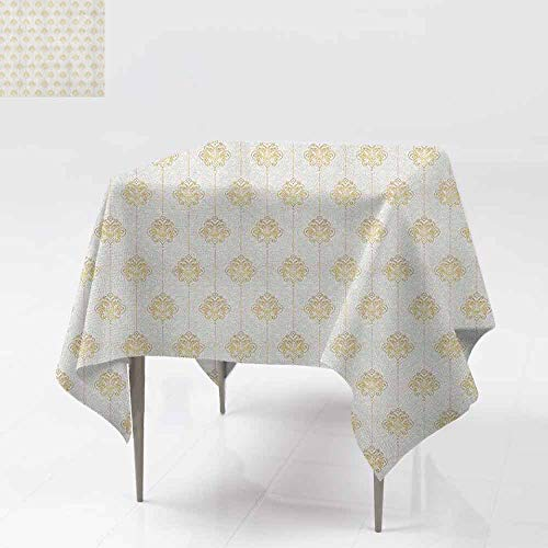 (AndyTours Indoor/Outdoor Square Tablecloth,Vintage,Ornamental Tracery Inspired Lines Swirl Curl Elements Vertical Borders with Dots,for Banquet Decoration Dining Table Cover,50x50 Inch Cream Gold)