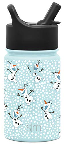 Simple Modern Disney Water Bottle for Kids Reusable Cup with Straw Sippy Lid Insulated Stainless Steel Thermos Tumbler for Toddlers Girls Boys, 10oz, Frozen: Olaf's Flurry