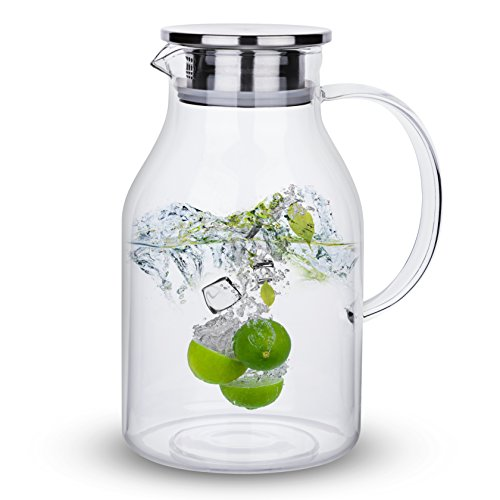 68 Ounces Glass Pitcher with Lid, Water Jug for Hot/Cold Water, Ice Tea and Juice Beverage by Karafu (Image #3)