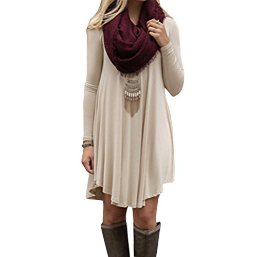 123 Tunique Col En Tricot Femme Robe Pull Sygoodbuy Robe Manches Longues Ronde Blouse Grande Taille Casual Kaki
