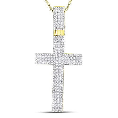 Roy Rose Jewelry 10K Yellow Gold Mens Princess Round Diamond Inset Cross Charm Pendant 2-3/8 Carat tw (Diamond Invisible Setting Pendant Rose)