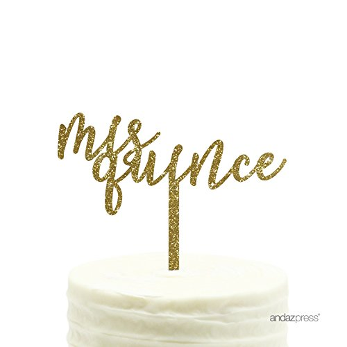 Andaz Press Birthday Acrylic Cake Toppers, Gold Glitter, Mis Quince, 1-Pack, Sweet 15 Quinceanera Decor Decorations]()