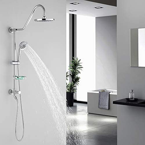 Shower System with 8 Rain Showerhead, Homelody 5-Function Hand Shower 59 Stainless Steel hose, Adjustable Slide Bar and Soap Dish, Chrome