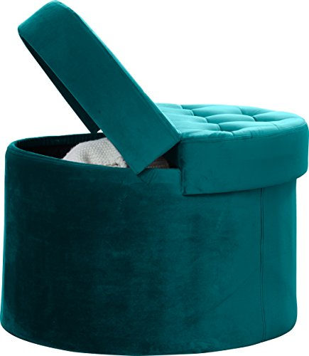 Ottoman Suede Storage Round (Ornavo Home Foldable Velvet Tufted Large Round Storage Ottoman Foot Rest Stool/Seat with Removable Lid - Teal)