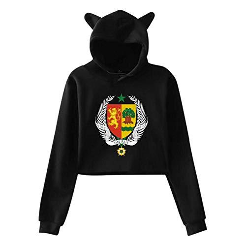 - Women's Coat of Arms of Uzbekistan National Emblem Cat Ear Hoodie Sweater, Hooded Crop Tops, Bare Midriff Jumper Blouse