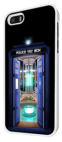 249 - Doctor who Tardis Call Box Travel Machine Design iphone 5 5S Coque Fashion Trend Case Coque Protection Cover plastique et métal - Blanc