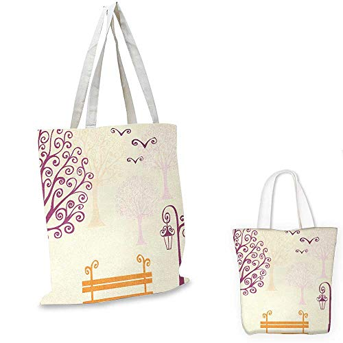 Nature shopping bag storage pouch Pastel Color Nature Picture Curvy Lines Seagulls Bench and Tree Silhouettes Park small tote shopping bag Orange Purple. 15