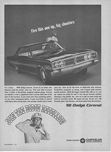 Magazine Print Ad: 1966 Dodge Coronet, 361 cubic inch V-8 engine,
