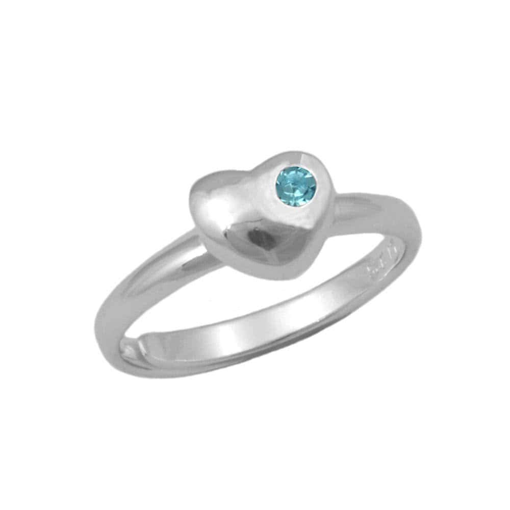 Girls Sterling Silver Simulated March Birthstone Heart Ring Adjustable Size 3 To 7