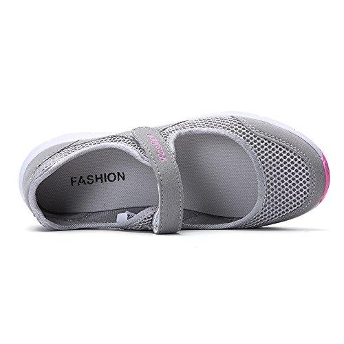 para Sneakers Gris Gris Calzado Zapatillas Negro Correr de 42 Verano Rosa 35 para Running Ligero Gimnasia Malla Deportivos Mujer Zapatos de qR6aRI