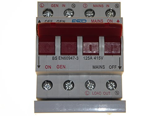 ESR 125 Amp 240V Mains to Generator Changeover Transfer Switch in Metal 4 Module Enclosure