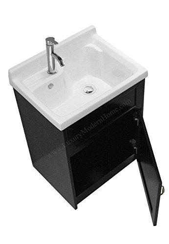 sink ALEXANDER 24'' ESPRESSO Utility Sink - Modern Mop Slop Tub Deep Sink Ceramic Laundry Room Vanity Cabinet Contemporary Hardwood Hard by www.LuxuryModernHome.com (Image #2)