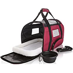 SunShack Soft Sided Pet Carrier - Onboard Airline Approved Under Seat Travel Bag for Cats and Small Dogs. Includes a Cushioned Fleece Pad and Collapsible Food/Water Bowl. Small, Maroon