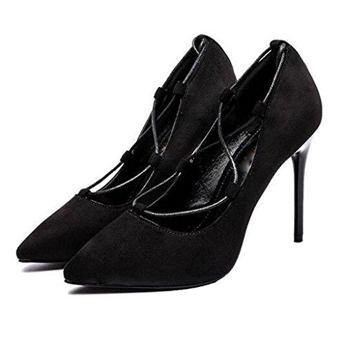 W&LM Sra Tacones altos Plataforma a prueba de agua De acuerdo Zapatos individuales Correa Propina Boca rasa Zapato Black