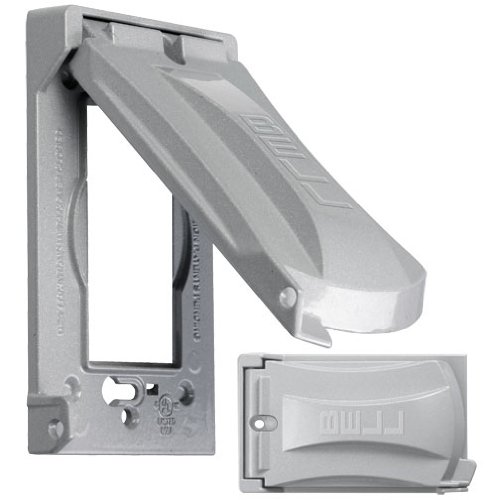Hubbell Outdoor Lighting MX1050S Heavy Duty Weatherproof 1-Gang Universal Flip Cover, Gray, Grey