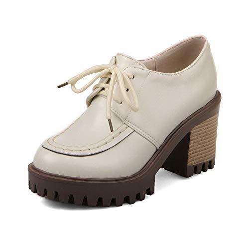 Round Women's Beige Shoes High Closed PU Heels Up Lace Toe AalarDom Pumps TSDDH002923 w5BqB