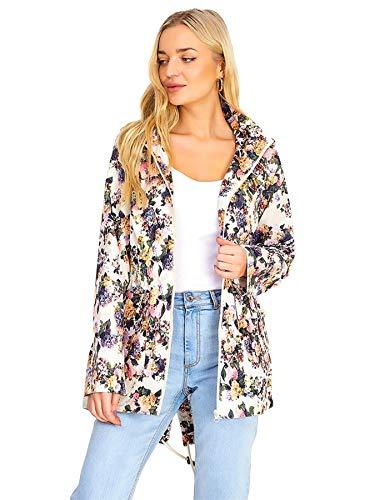 Love My Fashions® Womens Lightweight Floral Festival Parka Mac Fishtail Hooded Raincoat Ladies Waterproof Windbreaker…
