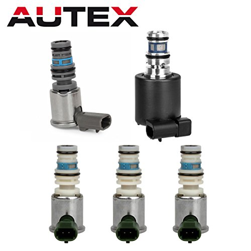 AUTEX 5PCS 4L40E 4L45E 5L40E 5L50E Transmission Master Shift EPC TCC Lock Up Solenoids Control Valve Kit Set Compatible With Cadillac BMW 2004 UP 24212690 24227792
