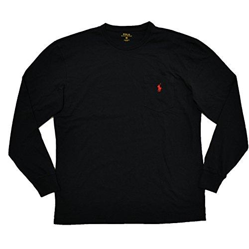 Polo Ralph Lauren Mens Classic Fit Crew Neck Long Sleeve Pocket T-Shirt (M, RL Black)