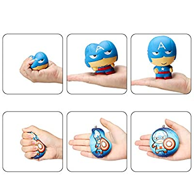 Ticiaga 10pcs Superhero Soft Squeeze Squishies Toys with Keychains, Cartoon Hero Slow Rising Stress Relief for Kids, Party Favors Games Prizes Carnivals School Supplies, Decorative Props: Toys & Games