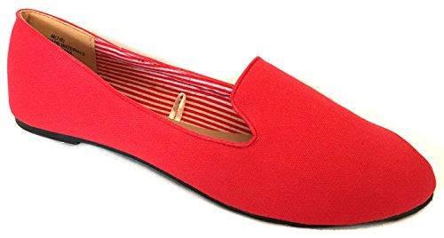 Chaussures Flâneurs En Toile Pour Femme Flats (7/8, Rouge 102)