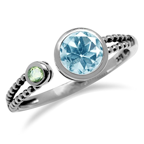 (1ct. Genuine Blue Topaz & Peridot 925 Sterling Silver Balinese Style Open Front Ring Size 8)