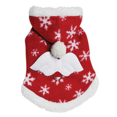 Adorable Fleece Snowflake Dog Hoodie with Angel Wing Size: Large