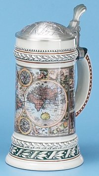 Old World Map German Stein with Globe Pewter Lid