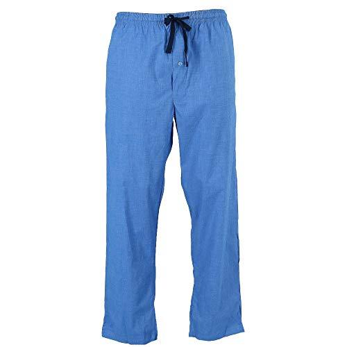 Hanes Men's Woven Plaid Drawstring Sleep Pajama Pants, Large, Blue