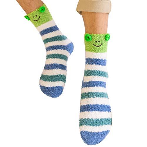 - Haluoo Unisex Winter Warm House Slipper Socks Super Soft Non Slip Fuzzy Cozy Fluffy Cute Animal Socks Cartoon Floor Socks Casual Crew Socks Sleep Socks Towel Socks (Frog, Men)