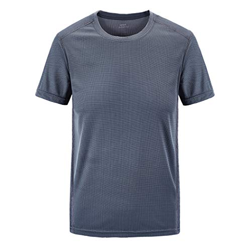 (Save 15% BBesty Men's Casual Plus Size Outdoor Workout Fitness Short-Sleeved T-Shirt Quick-Drying ClothesT-Shirt Tops Gray)
