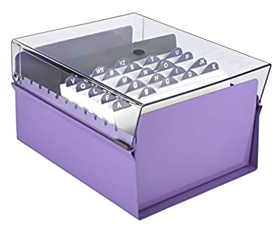 Acrimet 5 x 8 Card File Holder Organizer Metal Base Heavy Duty (Purple Color with Crystal Plastic Lid Cover)