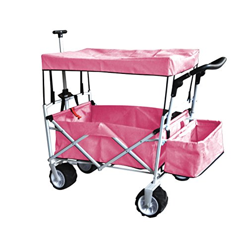 Pink Push and Pull Handle Folding Stroller Wagon Outdoor Beach Sport Collapsible Baby Trolley W/Canopy Gray Garden Utility Shopping Travel CART - Free ICE Cooler Bag - Easy Setup NO Tool Necessary