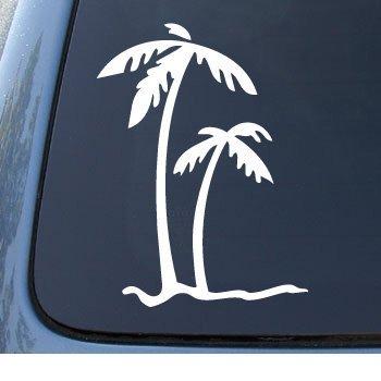 Hawaiian Vinyl Decals - PALM TREES - Tropical Beach - Car, Truck, Notebook, Vinyl Decal Sticker #1027 | Vinyl Color: White