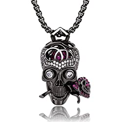 "Karseer Gothic Filigree Sugar Skull and Everlasting Rose Charm Pendant Necklace with Crystal Brain Hidden Floating Inside, 24"" Box Chain Matching Costume, Gun Black Jewelry Gift for Men and Women"