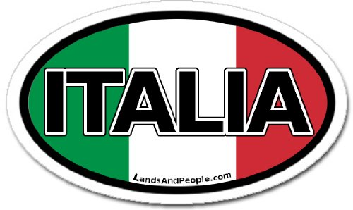 Italia Italy in Italian and Italian Flag Car Bumper Sticker Decal Oval ()