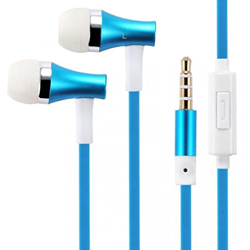 Premium Sound Blue Earbuds Handsfree Earphones Mic Metal Headphones HEadset In-Ear Wired [3.5mm] for Verizon Samsung Galaxy J3 Mission Eclipse - Verizon Samsung Galaxy J7 V (2017) Eclipse Hands Free Headset